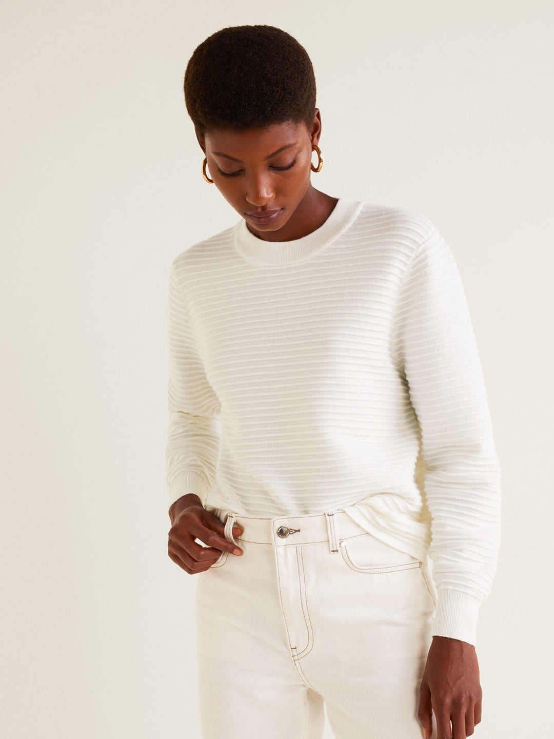 Women White Ribbed Pullover