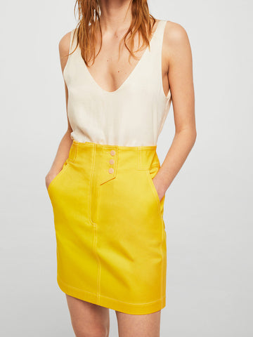 Women Yellow Solid Mini Straight Skirt