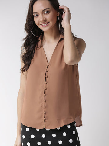 Brown Regular Fit Solid Casual Shirt