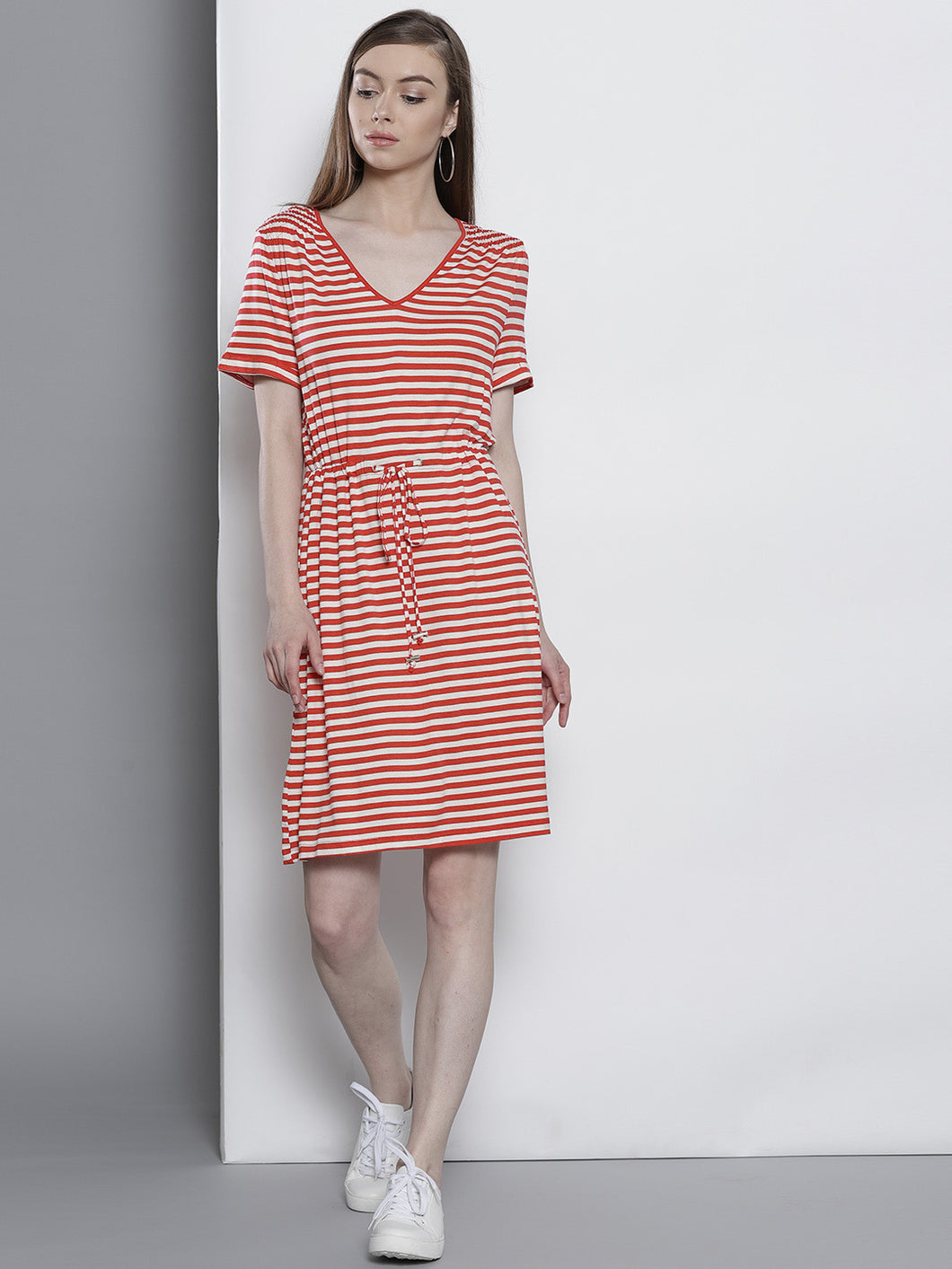 Women Red & White Striped A-line Dress