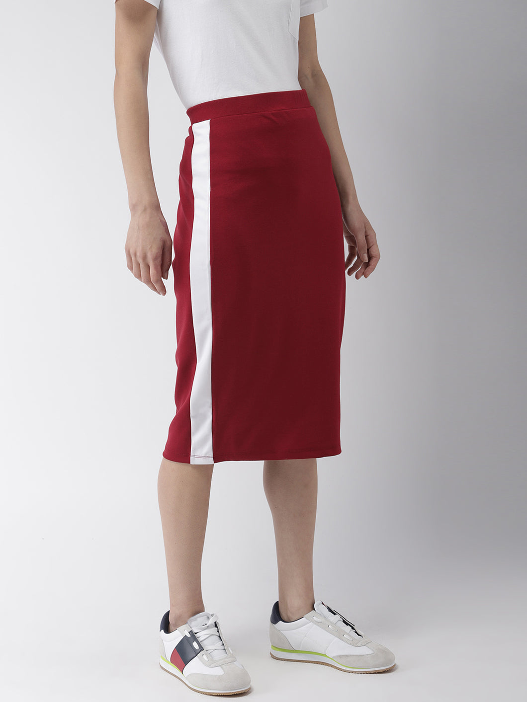 Red Solid Pencil Skirt