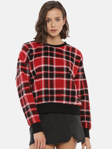 Women Red & Black Checked Pullover Sweater