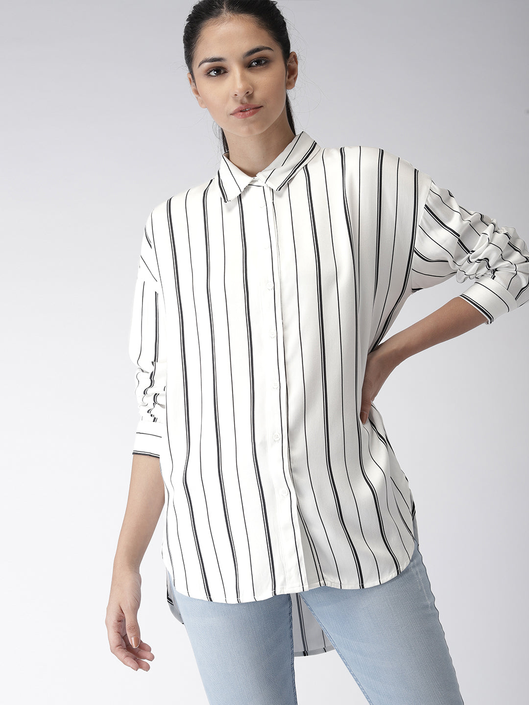 Women White Regular Fit Striped Casual Shirt