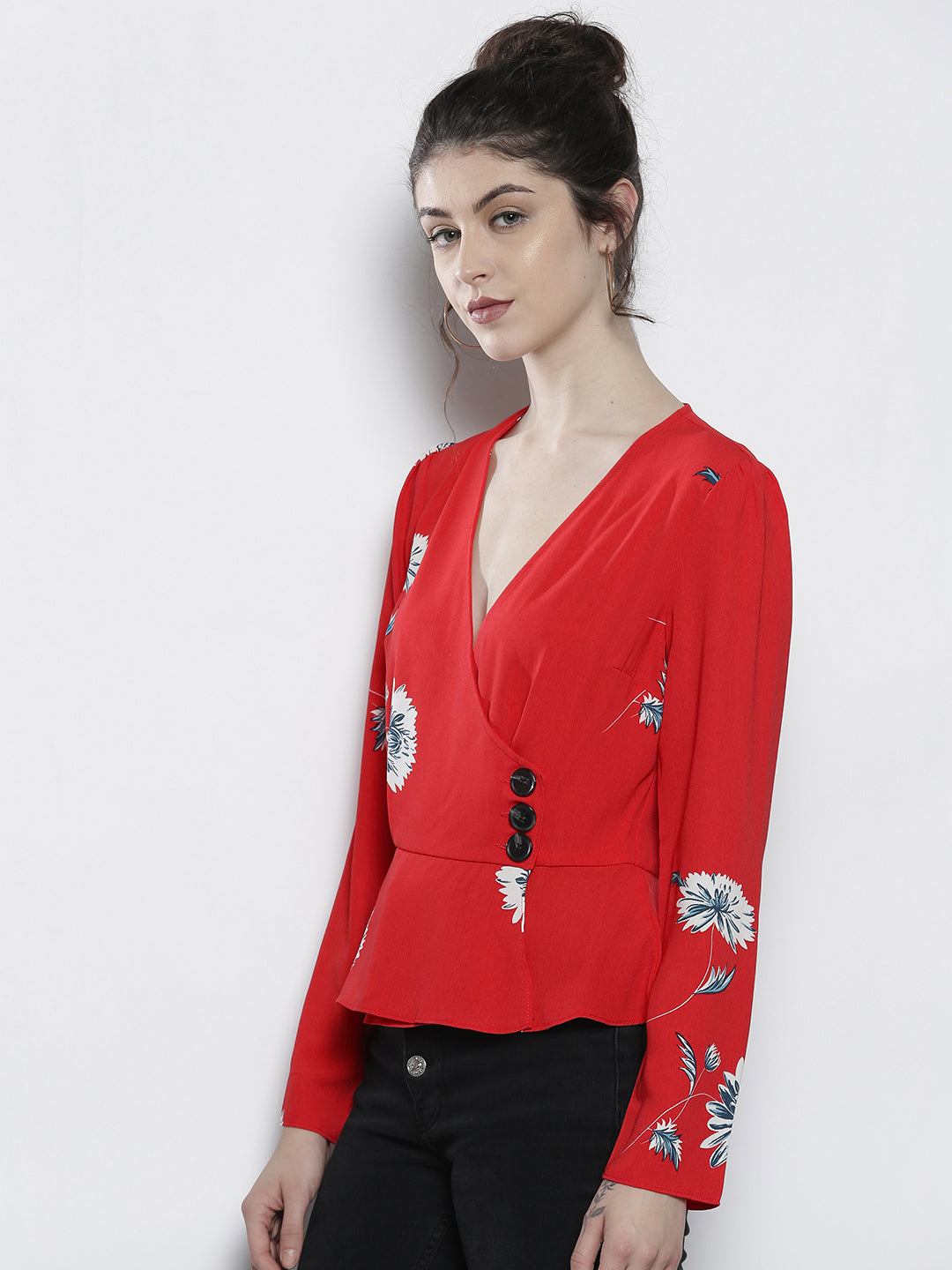 Women Red & White Floral Print Wrap Top