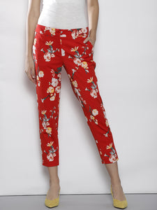 Women Red Regular Fit Printed Cropped Trousers