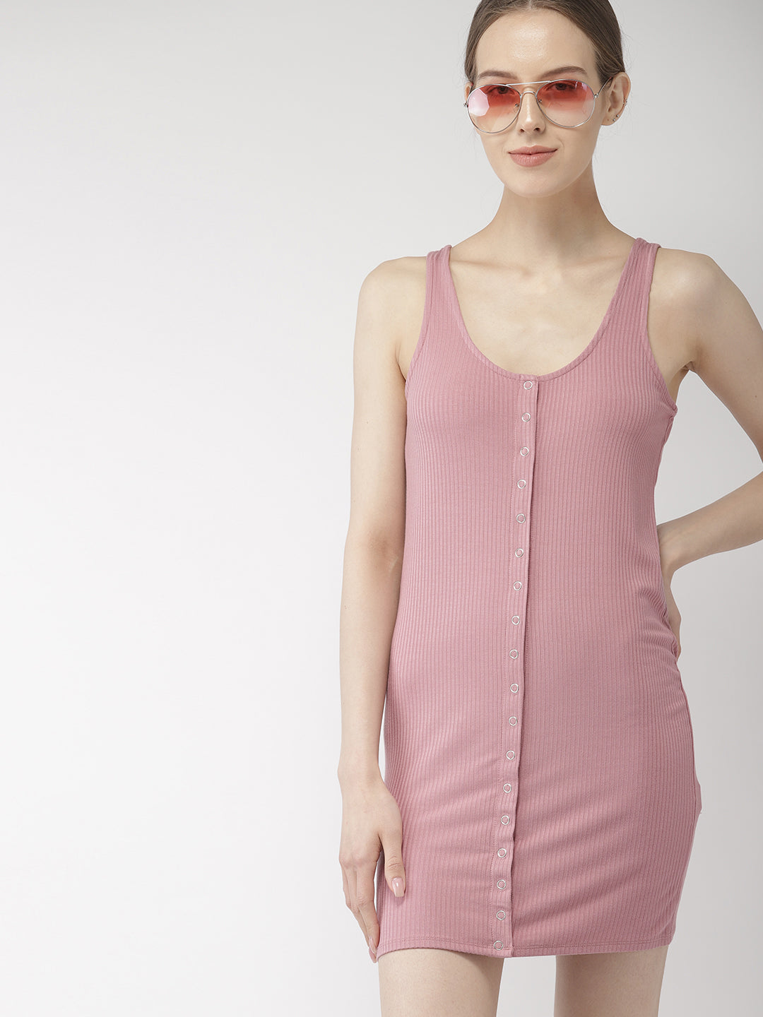 Pink Solid Bodycon Dress
