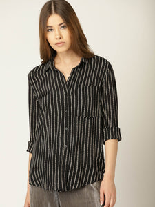 Women Black & Off-White Regular Fit Striped Casual Shirt