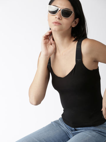 Women Black Solid Sleeveless Top