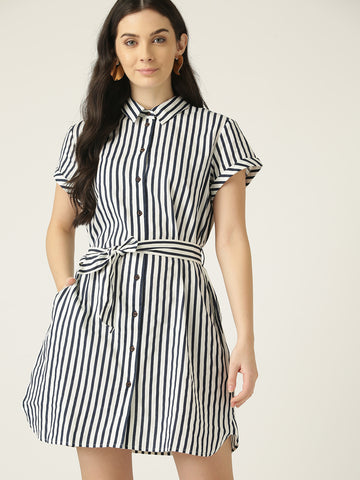 Women White & Navy Blue Striped Mini Shirt Dress