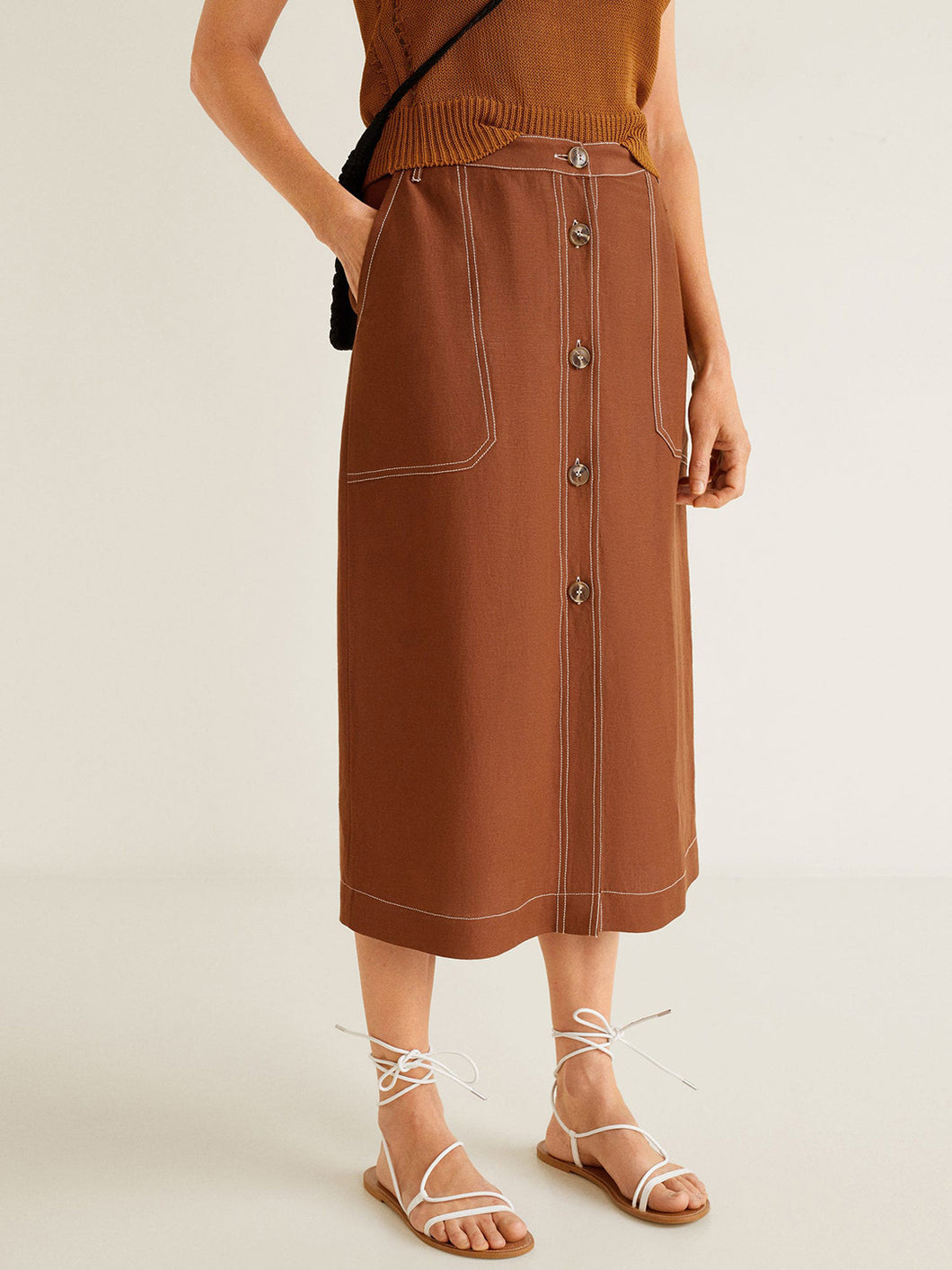 Brown Solid Midi Straight Skirt