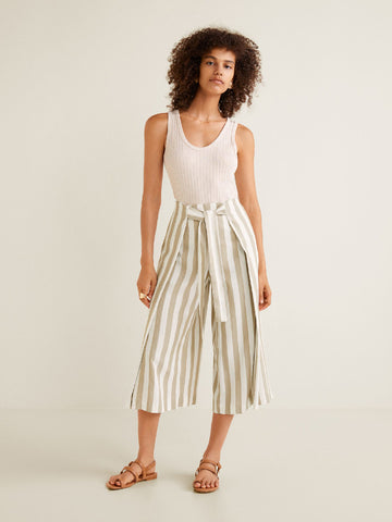 Women White & Beige Regular Fit Striped Culottes