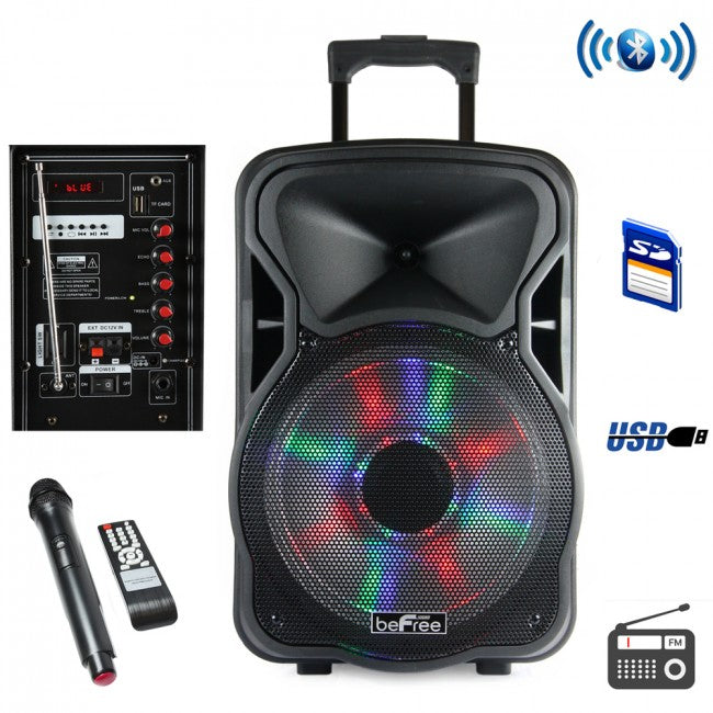 BEFREE SOUND 15 INCH BLUETOOTH RECHARGEABLE PARTY SPEAKER WITH ILLUMINATING LIGHTS