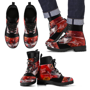 Men's leather boots/Ceril comic collage leather