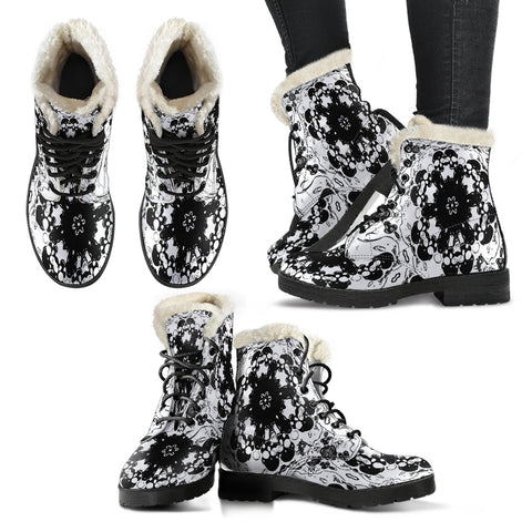 Faux fur leather boots blk/wh skull