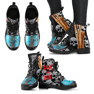 Women's leather boots rock and roll