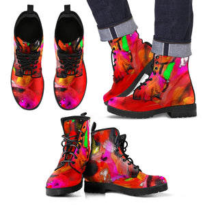 Men's leather boots Abstract red and black