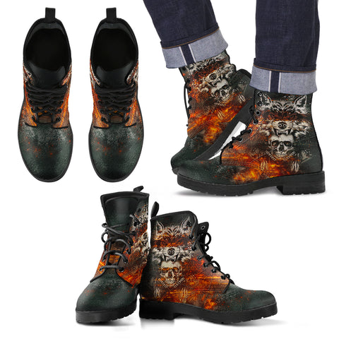 Men's leather boots Wolf & Skull Men's Handcrafted Premium Boots V2
