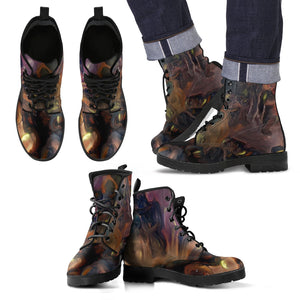 mens leather boots abstract dark