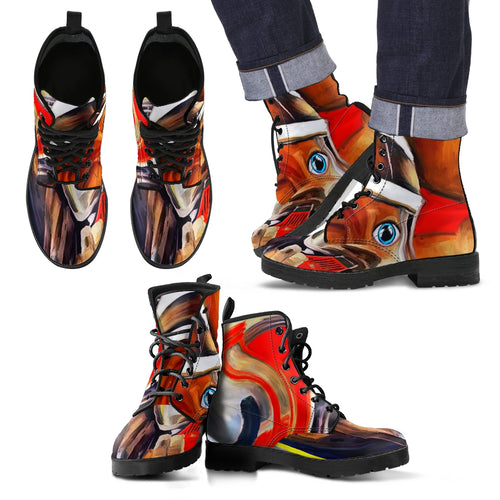 Men's leather boots Fireman abstract leather