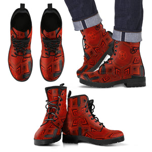 Men's leather bootsCross pattern leather