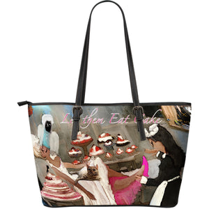 Large leather tote bag let them eat cake
