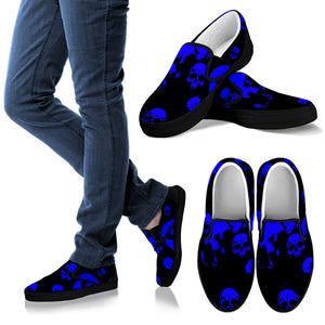 Men's slipons blue/black skulls