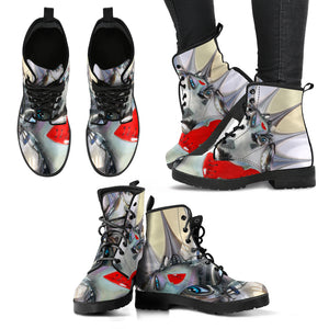 Women's leather boots Borg print1 leather