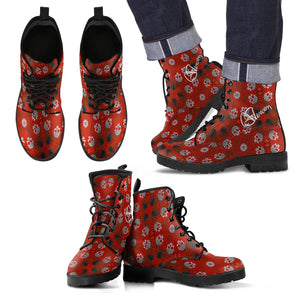 Men's leather boots/red Skulls pattern
