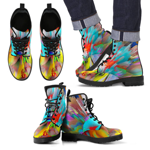Men's men's leather boots Color burst leather