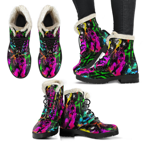 Faux fur leather boots multicolored