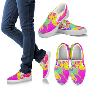 Women's Slipons shoes Yellow skull