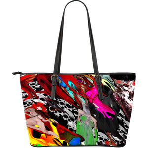 Large leather tote bag goathead medley