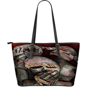 Large leather tote bag see no evil