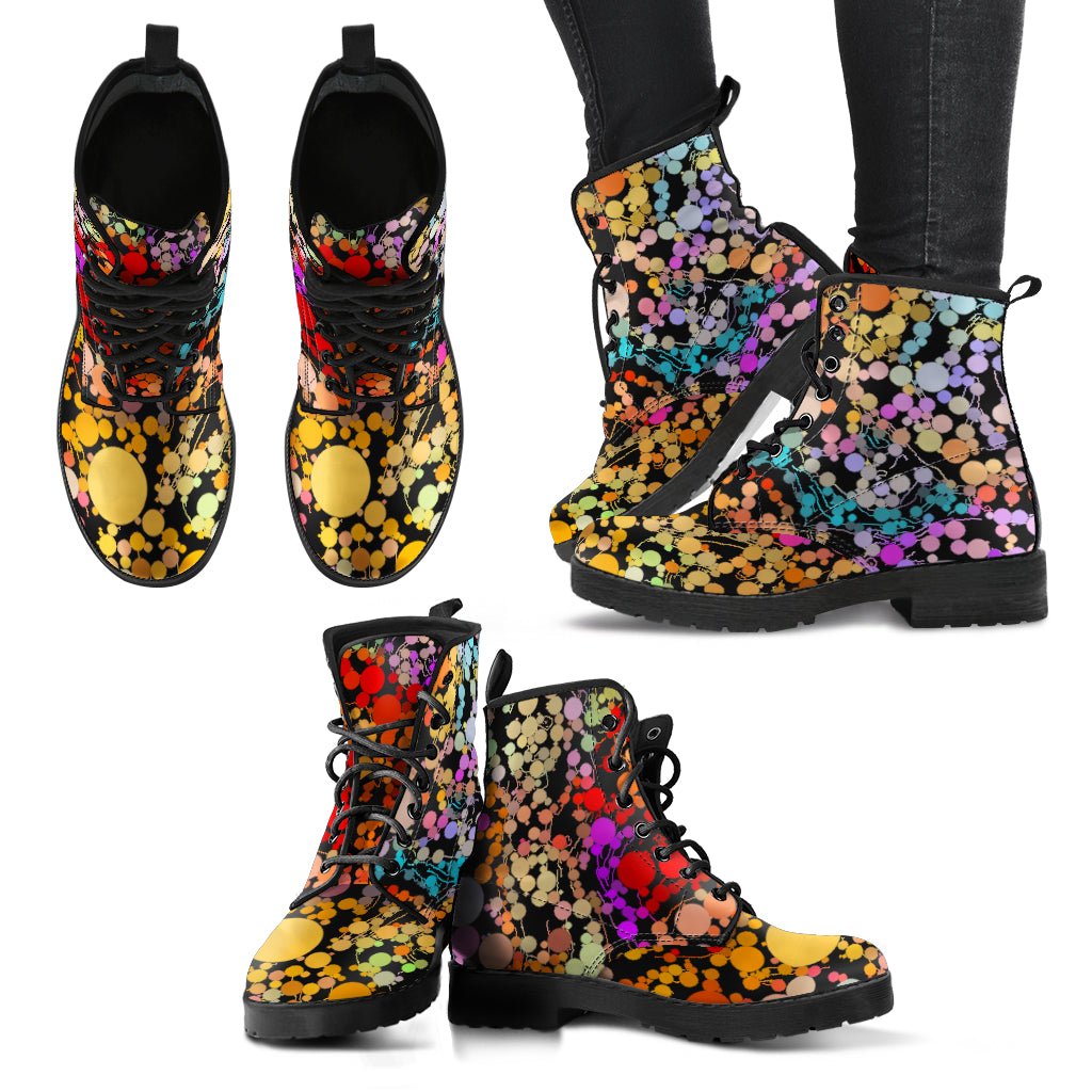 Women's leather boots Circle print womens boots leather