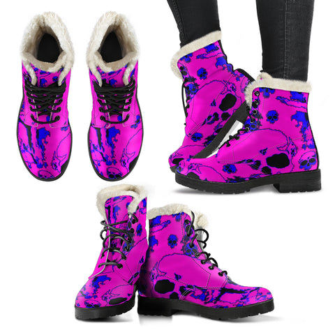 Faux fur leather boots pink/blue skulls