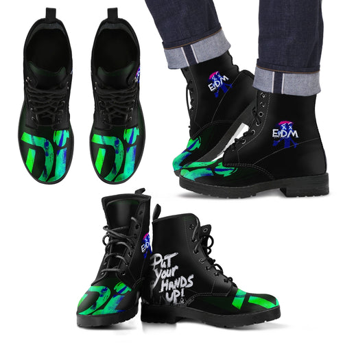 Men's leather boots dj raver