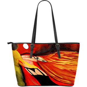Large leather tote bag firewoman
