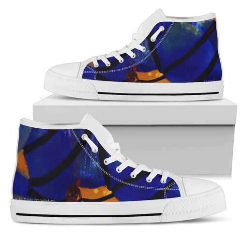 Women's high tops blue tied