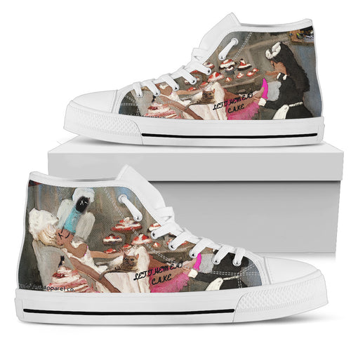 Women's high Top Shoes let the eat cake wh