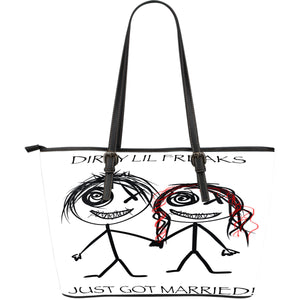 Large leather tote bag just married