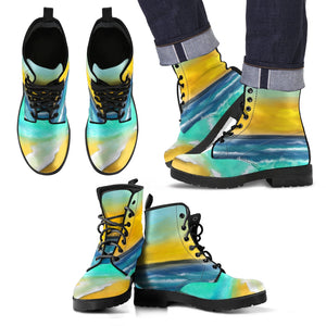 Men's leather boots Ocean wave leather