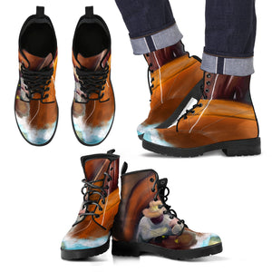 Men's leather boots Fishing art leather