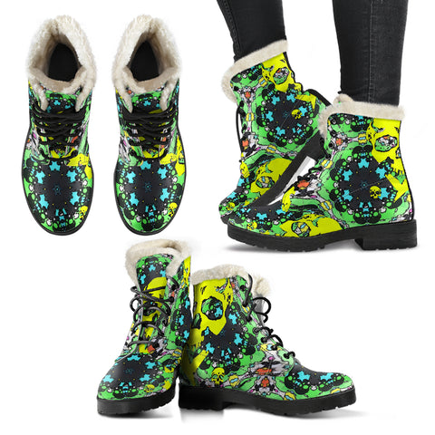 Faux fur leather boots yellow/green skull