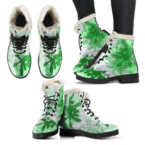 Faux fur leather boots greenery