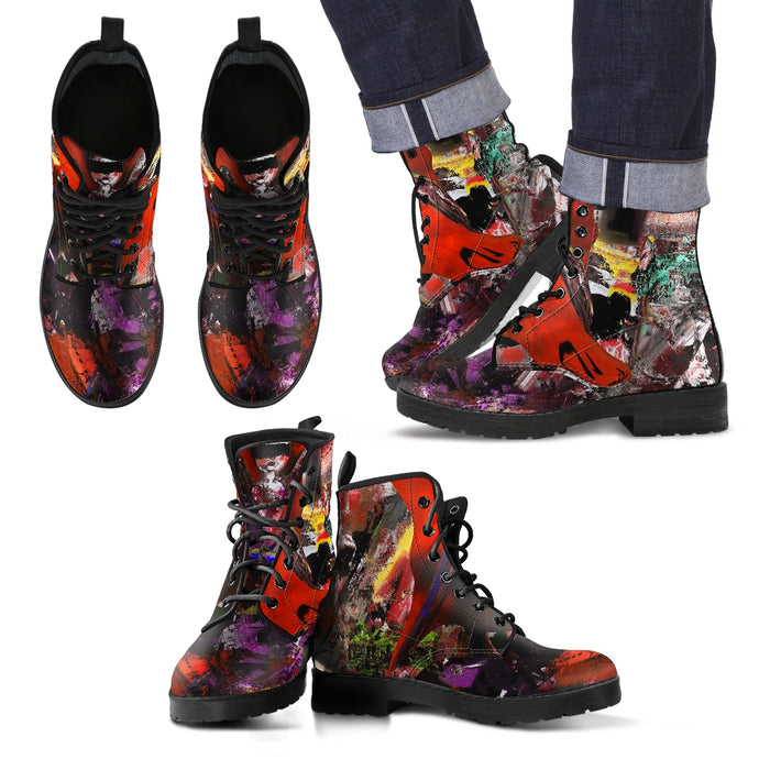 Men's leather boots abstract blindfolded