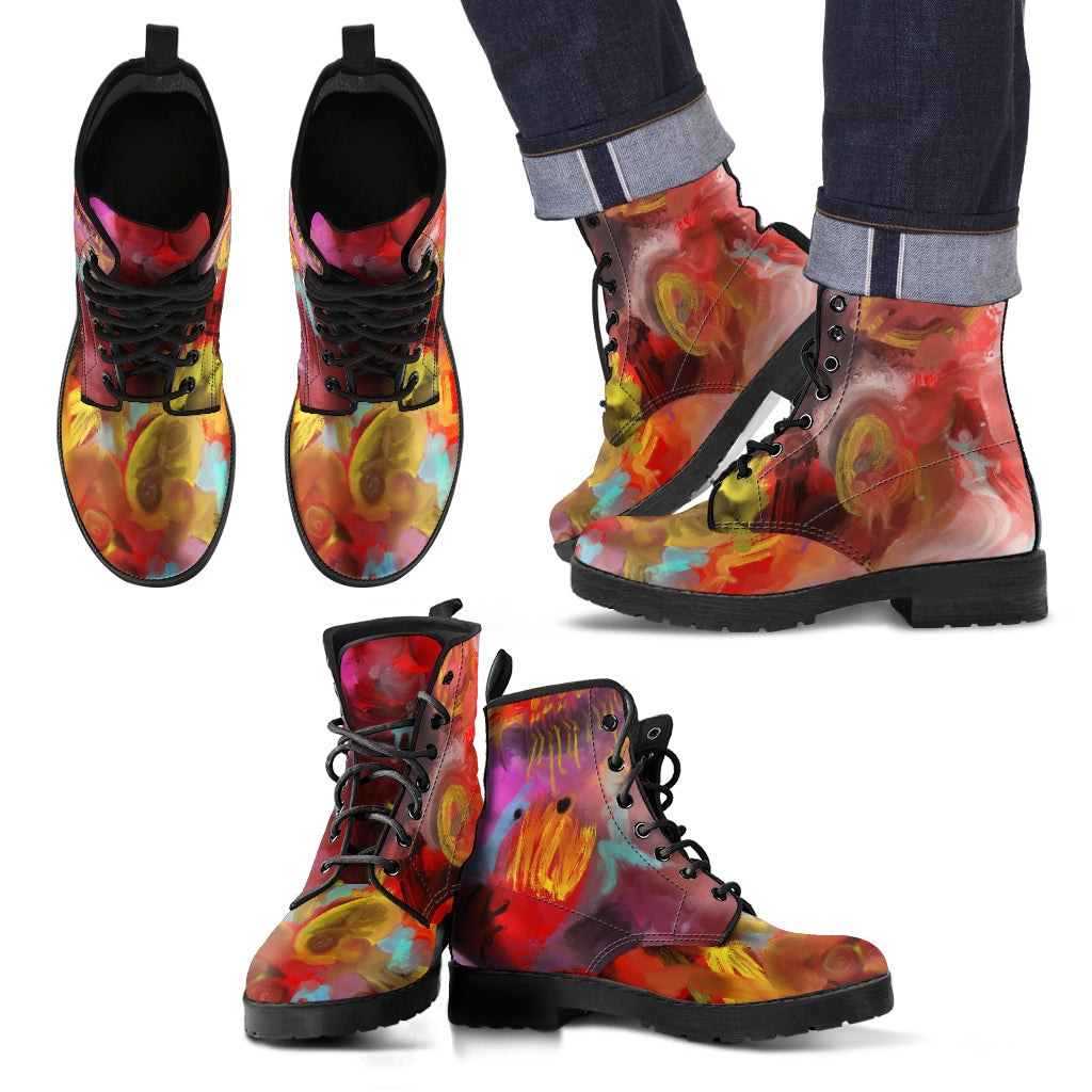 Men's leather boots Abstract art multi color