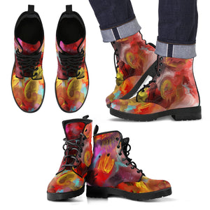 Men's leather boots Abstract art multi color leather