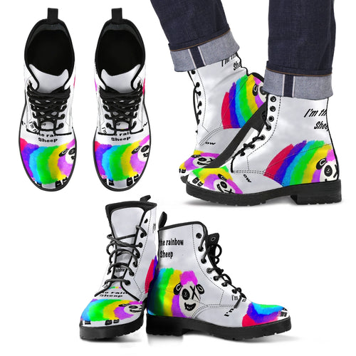 Men's leather boots doc Martin rainbow