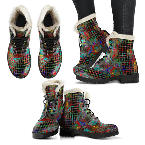 Faux fur leather boots multicolored/blkdots