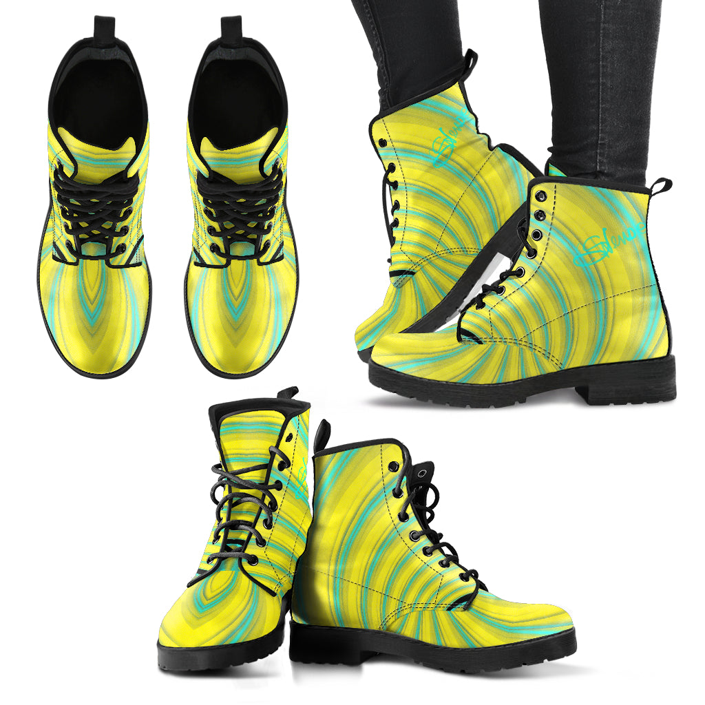 Women's leather boots Green print2 leather
